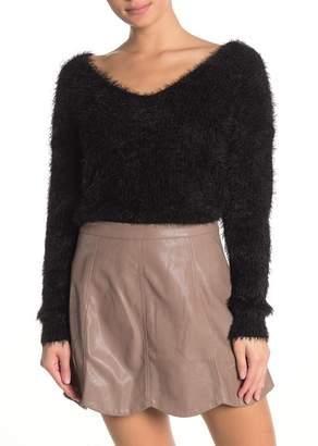 HYFVE V-Neck Fuzzy Twist Back Sweater