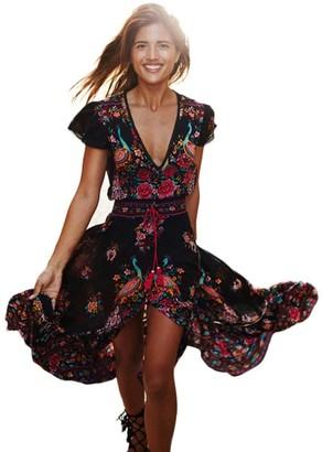 Maheegu Women's Boho Deep V Neck Floral Wrap Beach Dress Asymmetric Hem Vintage Long Maxi Party Casual Dress (Black M)