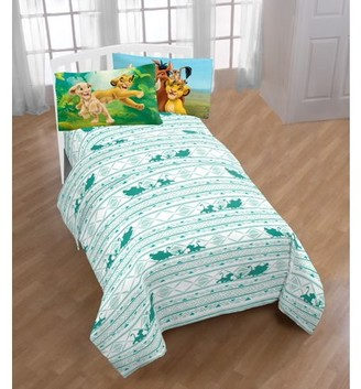 The Lion King Disney Lion King Printed Green/White Kids Sheet Set w/ Reversible Pillowcase