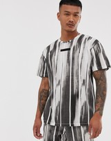 Religion loose fit co-ord t-shirt with brushed stripe print in black