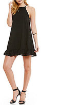 Gianni Bini Jenna Ruffle Hem Button Back Shift Dress