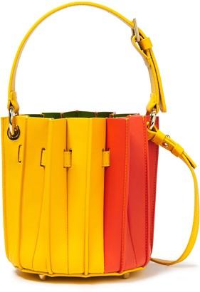 Sara Battaglia Plisse Mini Color-block Leather Bucket Bag
