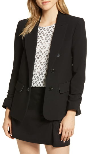 1 STATE 1.STATE Ruched Sleeve Stretch Crepe Blazer
