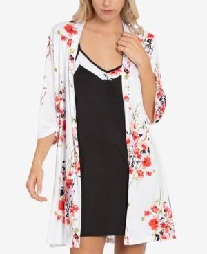 Linea Donatella Floral-Print Chemise Nightgown & Wrap Robe Set