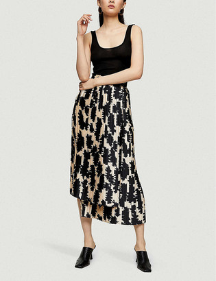 Topshop Floral-print pleated woven midi skirt