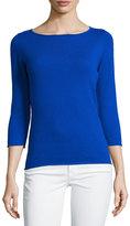 Neiman Marcus Cashmere Boat-Neck Pullover Sweater, Blue