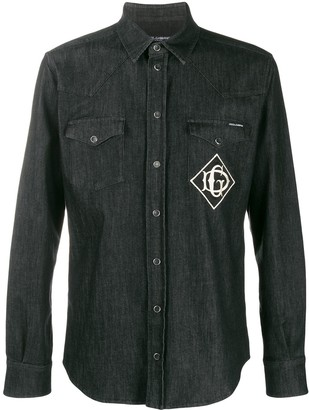 Dolce & Gabbana Embroidered Logo Denim Shirt