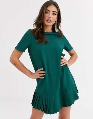 Asos Design DESIGN sheer shift mini dress with pleated hem-Green
