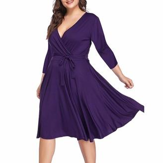 Lomsarsh Women's Midi Dress Plus Size V-Neck Solid Color Seven-Quarter Sleeves Dress at The Waist