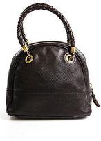Bottega Veneta Brown Embossed Leather Braided Handle Small Satchel Handbag