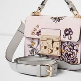 River Island Womens Pink embroidered mini lock front satchel bag
