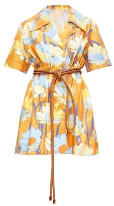 Fendi Daisy-print Poplin Shirt Dress - Womens - Brown Print