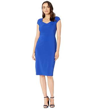 Maggy London Dream Crepe Sheath with Folded Neck Detail Dress