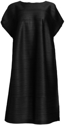 Pleats Please Issey Miyake Tucked Short Sleeve Bounce Dress