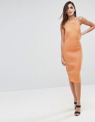 Asos Design ASOS Bonded Mesh Scuba Midi Bodycon Dress