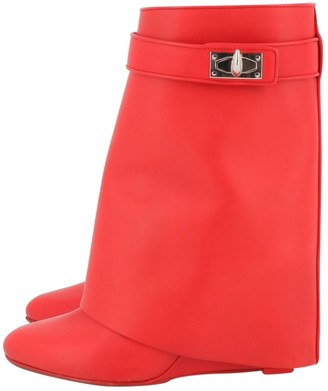 Givenchy Shark Red Leather Ankle boots