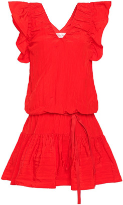 Victoria Victoria Beckham Belted Ruffled Taffeta Mini Dress