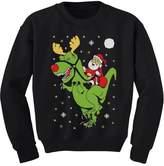 TeeStars - T-Rex Santa Ride Funny Ugly Christmas Sweater Youth Kids Sweatshirt