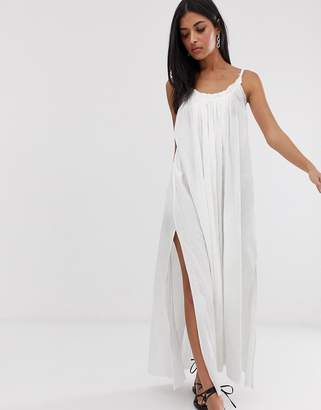 AllSaints romey maxi dress with low back-White