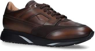 Santoni Leather Enlite Patina Sneakers