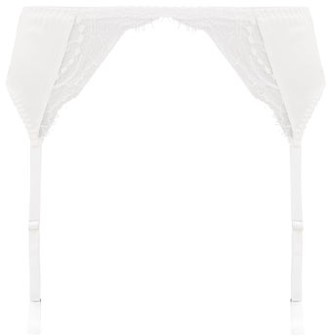 Fleur of England Signature Silk-blend Satin And Lace Suspender Belt - White