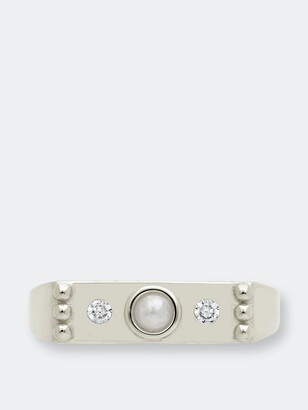 Sterling Forever Sterling Silver Pearl & CZ Bar Ring