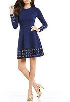 MICHAEL Michael Kors Grommet Embellished Ponte Knit A-Line Dress