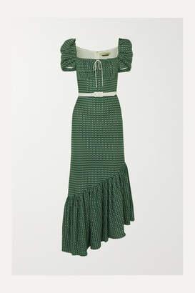 Hellessy Belted Asymmetric Crocheted Cotton Dress - Green