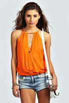 Boohoo Isabelle Wrap Front High Neck Drawstring Cami