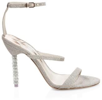 Sophia Webster Rosalind Embellished-Heel Glitter Leather Sandals