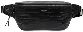 Saint Laurent Croc Embossd Leather Belt Bag
