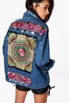 boohoo Fleur Embellished Denim Festival Jacket