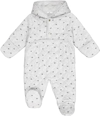 La Redoute Collections Velour Hooded Pram Suit, 1 Month-18 Months