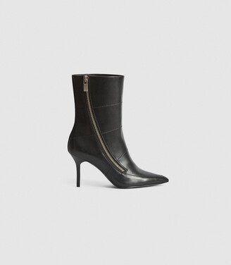 Reiss Hoxton - Leather Point-toe Boots in Black