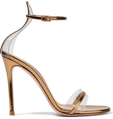 Gianvito Rossi Portofino 100 Pvc-trimmed Metallic Leather Sandals - Gold
