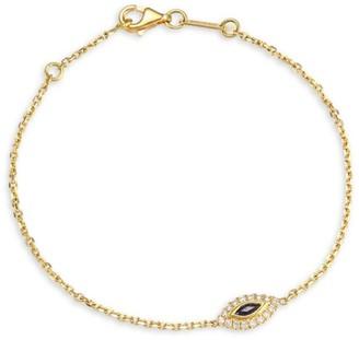 Anita Ko 18K Gold & Diamond Sapphire Evil Eye Bracelet