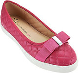 As Is Isaac Mizrahi Live! Quilted Leather Flats with Bow