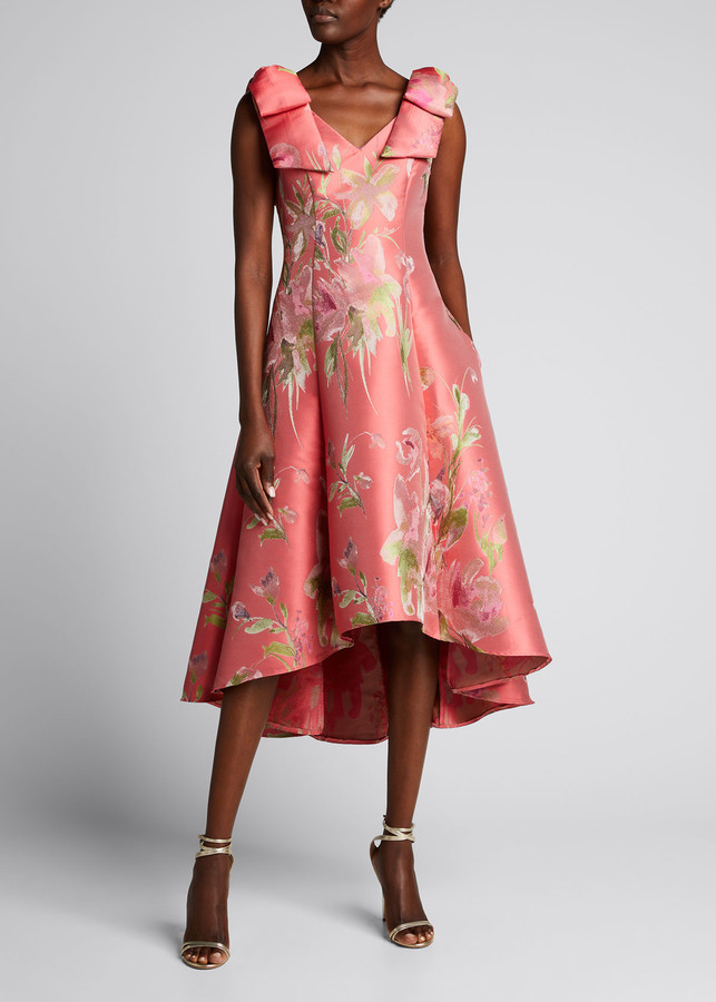 Marchesa Notte Floral Jacquard Draped Bow-Shoulder Midi Dress