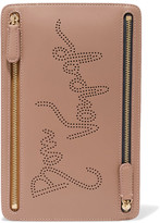 Smythson Piccadilly Perforated Leather Pouch - Beige