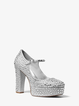 MICHAEL Michael Kors Fallon Crystal-Embellished Glitter Chain-Mesh Mary Jane Pump