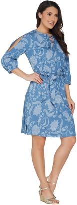 Isaac Mizrahi Live! TRUE DENIM Floral Printed Denim Dress
