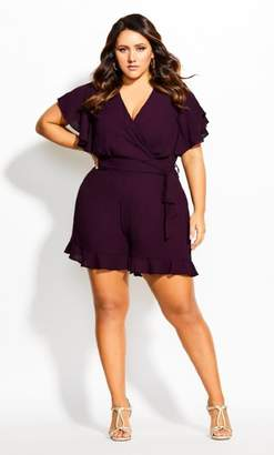 City Chic Frill Love Playsuit - mulberry