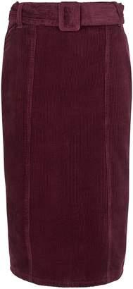 Dorothy Perkins Womens Berry Belted Corduroy Midi Skirt