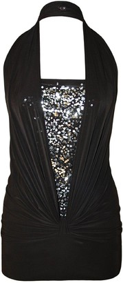 Unknown Ladies Beautiful Halter Neck Sequin Top Silky Soft Fabric Low Back Club Dress Party Wear Size 8-18 (M/L 12-14