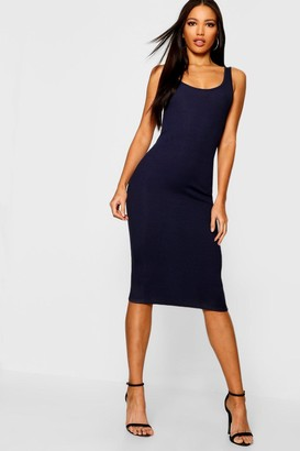 boohoo Rib Sleeveless Midi Dress