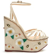 Charlotte Olympia Floral Meredith linen wedge sandals