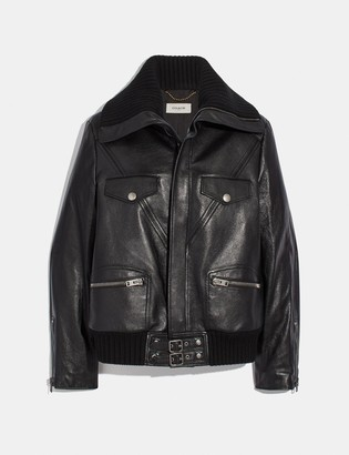 Coach Leather Jacket With Knit Collar