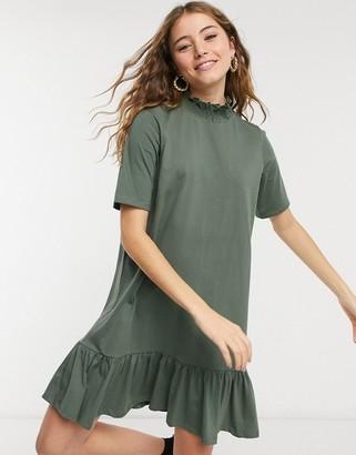 ASOS DESIGN mini short sleeve shirred detail high neck dress with pep hem in khaki