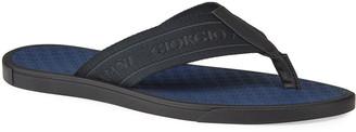 Giorgio Armani Men's Logo Jacquard Thong Sandal