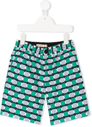 Marni Square-Print Shorts